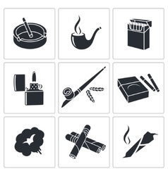 Smoking icon collection vector