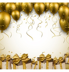 Celebrate golden background with balloons vector