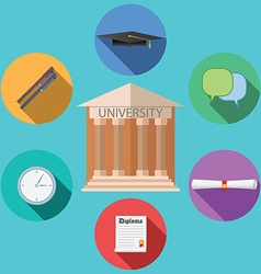 Flat design concept for university building vector