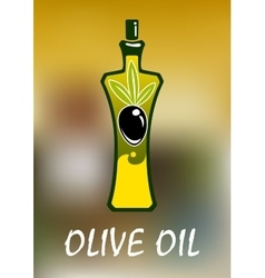 Bottle of olive oil with black fruit vector