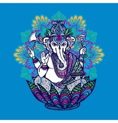 Ganesha with ornate mandala vector