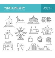 Set of flat design amusement park line icons vector