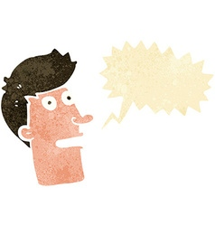 Cartoon shocked male face with speech bubble vector