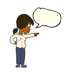 Cartoon enthusiastic woman pointing with speech vector