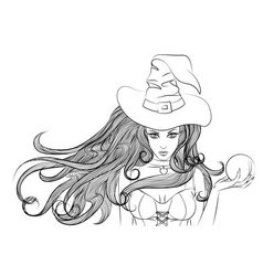 Young witch with a magic ball in hand outline vector