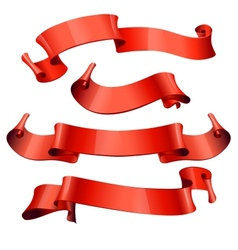 red glossy ribbons on a white background vector image