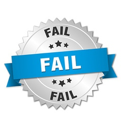 Fail 3d silver badge with blue ribbon vector
