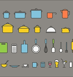 Kitchen tools silhouette icons collection design vector
