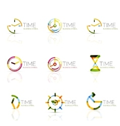 Geometric clock and time icon set vector