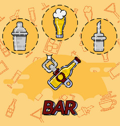 Bar flat concept icons vector