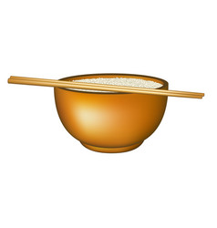 Bowl of rice and chopsticks vector