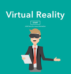 businessman use virtual reality web page concept vector image vector image