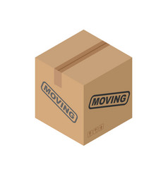 Cardboard box moving isolated pasteboard case on vector