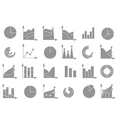 Charts gray icons set vector image vector image