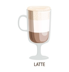 Coffee cups different cafe drinks latte vector