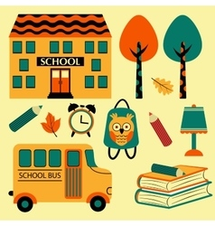 Colorful school icons vector image vector image
