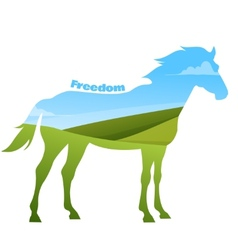 Concept of horse silhouette with text on field vector image