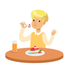 cute blonde boy sitting at the table and eating a vector image vector image