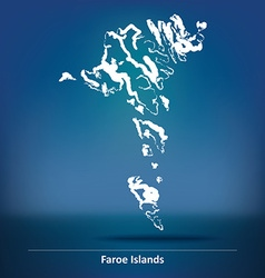 Doodle map of faroe islands vector