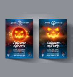 halloween flyer design template banner or leaflet vector image