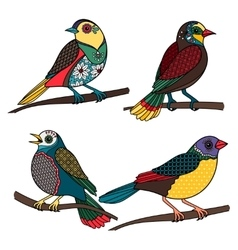 Hand drawn ornamental birds vector image