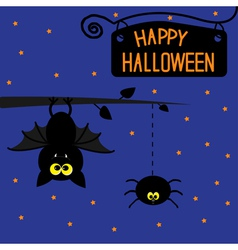 Hanging bat and spider starry night halloween card vector