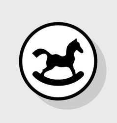 Horse toy sign flat black icon in white vector
