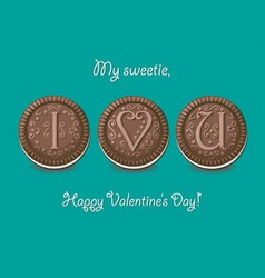 I love you chocolate cookies with graceful decor vector