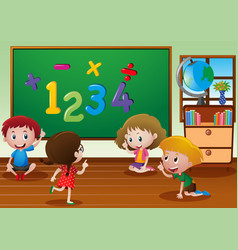 Kids learning in classroom vector