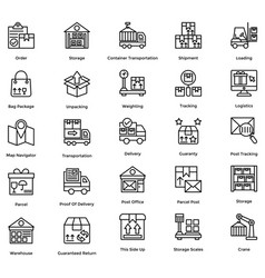 Logistic delivery icons set 3 vector