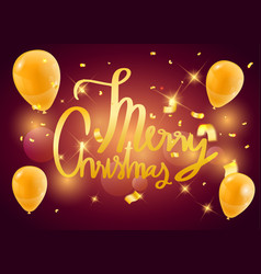 merry christmas gold balloons confetti background vector image vector image