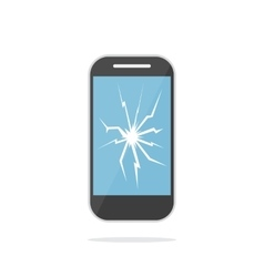 Mobile phone with crack screen vector image