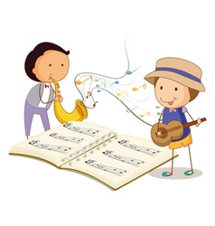 Musicians playing with the musical instruments vector image