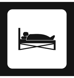 Patient in bed in hospital icon simple style vector image