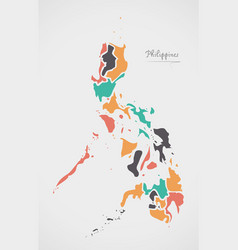 Philippines map with states and modern round vector