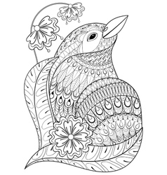 Zentangle exotic bird in flowers Hand drawn vector image