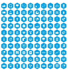 100 data exchange icons set blue vector