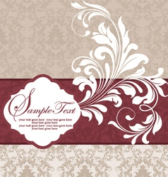 Wedding damask floral card vector