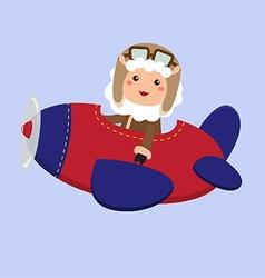 Cute sheep aviator vector