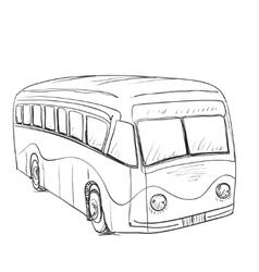 Hand drawn cartoon bus vector image