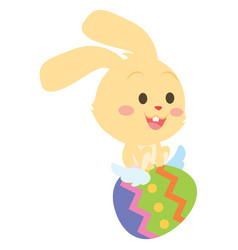 Bunny fly with easter egg collection vector