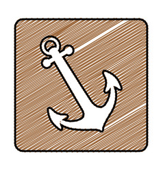 Color pencil drawing square frame with anchor icon vector