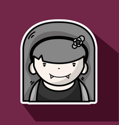 Woman vampiere with fangs and hairstyle vector