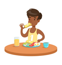Cute boy having breakfast in the kitchen colorful vector