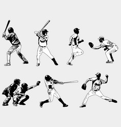 baseball players set - sketch vector image