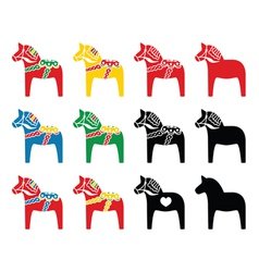 Swedish dala horse icons set vector