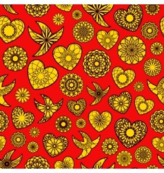 Hearts and Birds Seamless Pattern vector image