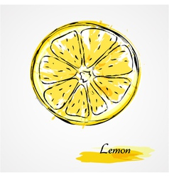 Lemon round slice vector