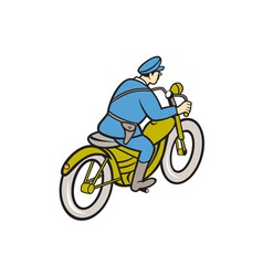 Highway patrol policeman riding motorbike cartoon vector