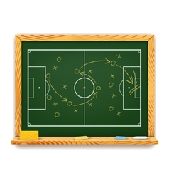 Blackboard showing a schematic plan for football vector